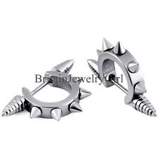 2pcs Stainless Steel Men's Earrings Hoop Huggie Ear Stud Spike Punk Color Silver