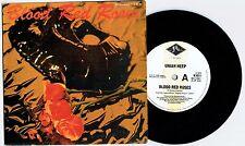 "URIAH HEEP - BLOOD RED ROSES - 7"" 45 VINYL RECORD w POSTER SLV - 1989"