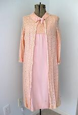 Vtg 60s Mod Pink 2-Pc Sleeveless Dress Lace Coat Mob Church Sunday Suit 16