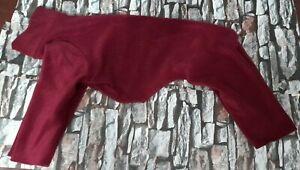 greyhound fleece all in one  pj coat 28inch 72cm burgundy single layer