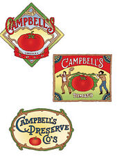 25 Campbells Vintage Soup Preserves Labels New Wallies Decals Stickers Borders