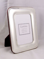 """Italian Sterling Silver Picture frame 4X6"""" Photo Size Wide Band Beaded Wood Back"""