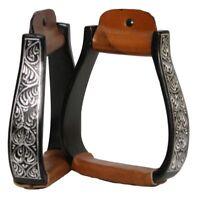 Engraved Black Aluminum Western Horse Saddle Stirrups Gymkhana Barrel Racing WOW