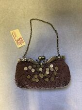 Hookes Vintage Burgundy Purse Evening Bag with Clasp Fastening NEW