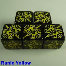 Viking Dice 5x 16mm D6 Runic Yellow Table Top Warhammer Warmachine 40000 Fantasy