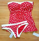 NWT Seafolly Spot On C/D Cup Bandeau Singlet & Hipster Pant - AU 8/ US 4 (C71)