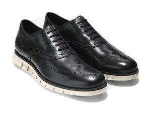 NEW Cole Haan Zerogrand Leather Wingtip Shoes 8 M Black/White $195