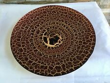 """One Decorative GLASS Red & Gold in Color Platter Decor Plate LARGE 15.5"""" Round"""