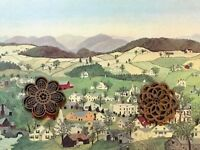 Vtg Grandma Moses Art Print American Folk NEW ENGLAND TOWNS VILLAGES