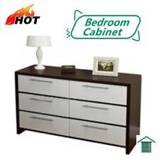 6 Drawer Lowboy Cabinet Chest Dresser  White/Walnut