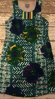 Vanessa Virginia Womens Sleeveless Floral Abstract Print Shift Dress Green Sz 4