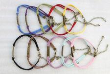 10PCS Mixed Colours Velvet Antiqued Bronze Peace Link Bracelets #23540