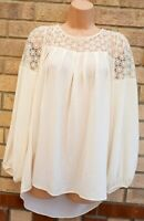 LIMITED EDITION IVORY WHITE MARKS SPENCER CROCHET LACE BAGGY BLOUSE TOP SHIRT 10