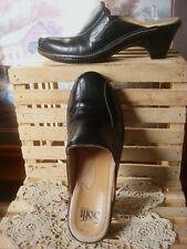 SOFFT ~BLACK SMOOTH PEBBLED LEATHER COMFORT MULES CLOGS ~SZ 8M ~EUC