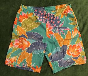 1980's Vintage Original Jams Board Lounge Shorts Size Medium M Floral Print