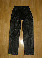 Super Black Leather Zip Wrinkle Side Tapered Biker Motorcycle Pants Waist Sz 27""
