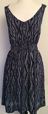 Lucky Brand Women's Dress Size Large Dark Navy/White Print Stretch Knit