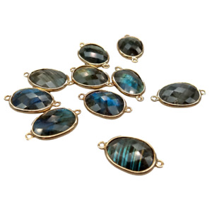 10 PCS 14x17mm Blue Labradorite Double Bail  Bezel Connector for Jewelry DIY