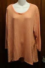 eyeshadow peach paisley tunic sweater 1x