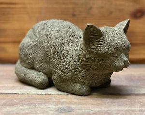 STONE GARDEN SMALL SLEEPING CAT KITTEN MEMORIAL STATUE GIFT ORNAMENT