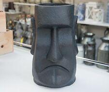 Outdoor Garden Patio Ornament Statue Planter Pot Easter Island Head Moai Gray