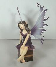 fée rêveuse, ailes métal, figurine, héroïc,légende,fantasy, socle bois GT-9/04