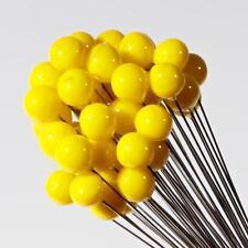 (1) hand lampwork Czech yellow flower stamen art glass ball craft headpin bead