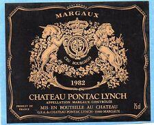 MARGAUX VIEILLE ETIQUETTE CHATEAU PONTAC LYNCH 1982 75 CL   §15/11/16§