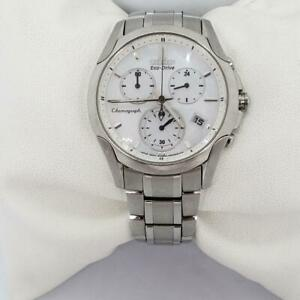 Citizen Eco-Drive Womens Sapphire Stainless Steel Chronograph Watch