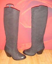 *22* Superb H&M  Black Leather knee heel Cowboy style Boots EU 36