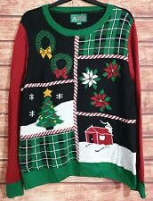 "VTG UGLY Christmas Sweater/Jumper Men's Women's UNISEX XXL 46"" Chest/Bust Knit"