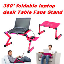 New listing Portable Foldable 360° Notebook Laptop Desk Table Stand Bed Tray + Cooling Fan