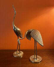 Art Deco Vintage Brass Pair Cranes, Stalks, Birds Figurines