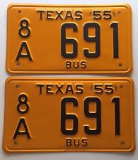1955 Texas BUS Plates Pair SET VINTAGE ANTIQUE CLASSIC 691  License   VW  ce