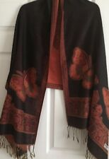 Double-Side Butterfly Cashmere Scarf Wrap Shawl Soft Elegant Black Orange Classy