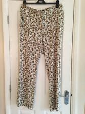 BNWT M&S Limited Edition Green Floral Wide Leg Trousers Size 14 Leg 31.5""
