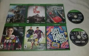 Xbox One 8 Game Lot Used Very Good Discs~CoD AW, The Evil Within, Monster Hunter
