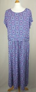 Boden Pink Purple & White Floral Long Stretch Dress Size UK 22L