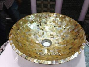 15 Inches Handmade Stone Counter Top Vessel Yellow Marble Bathroom Wash Basin