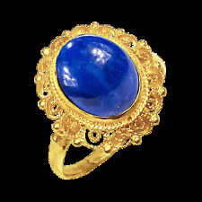 3 Ct Oval Lapis Filigree Ring in Sterling Silver 14k Yellow Gold Overlay