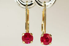 BEENJEWELED GENUINE NATURAL MINED RUBY EARRINGS~14 KT YELLOW GOLD LEVERBACK~4MM