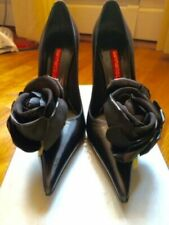 100% AUTH GIANMARCO LORENZI LEATHER HUGE FLOWER HEELS SHOES ITALY 6 ippolita