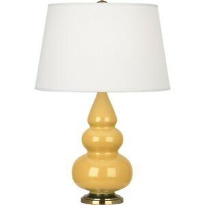 Robert Abbey Small Triple Gourd Accent Lamp, Sunset Yellow/Antique Brass - SU30X