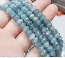 "5x8mm Faceted Natural Aquamarine Gemstones Loose Beads 15"""