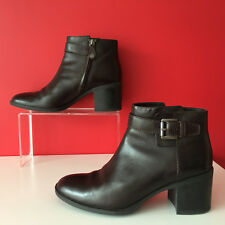 Geox Respira D Glynna B Leather Boots w/ Zip Buckle Coffee Brown WORN Once