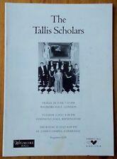 The Tallis Scholars programme Birmingham Symphony Hall 1996 Deborah Roberts