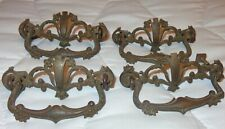 "4  ANTIQUE VINTAGE ORNATE FILIGREE METAL DRESSER HANDLE PULLS  3 3/4"" W  3"" CENT"