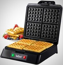 Quad waffle maker belge fer en acier inoxydable non-stick machine