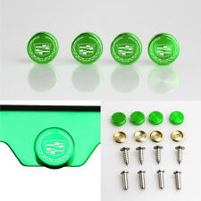 Laser Etched 4 Green Aluminum New Cadillac License Plate Frame Bolts Screw Cap