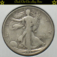 1919-D U.S. Silver Walking Liberty Half Dollar 50c Fine Details 90% Silver